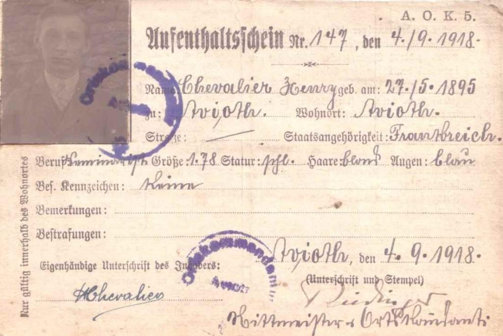 aufenhaltsichein henri 1918
