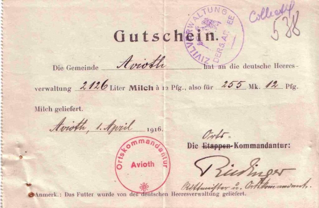 bon collectif requisitions allemandes 1916
