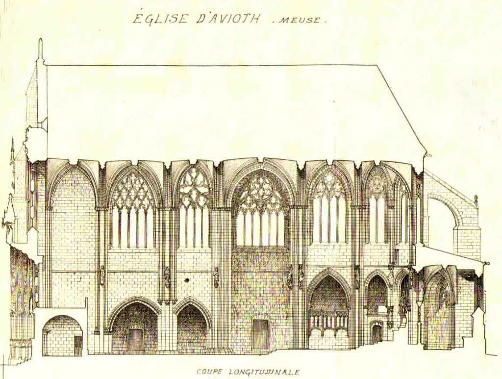 coupe de l'eglise avant 1867 detouree
