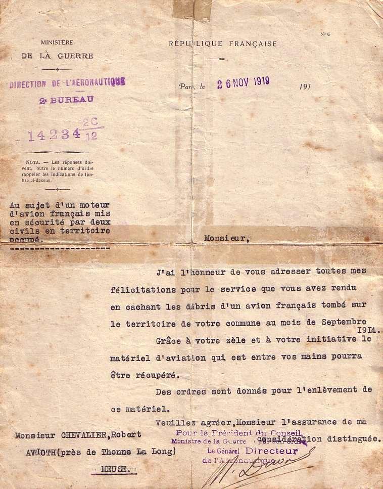 courrier avion robert chevalier 1919